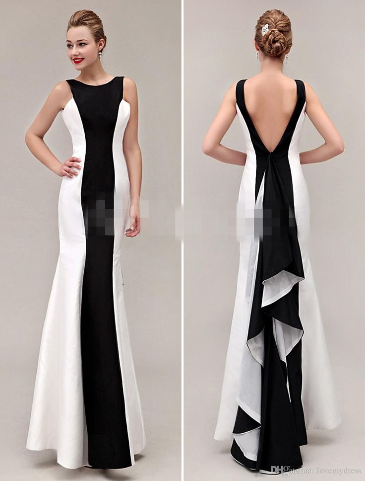 cocktail dresses evening wear cheap evening dresses white and black sheath slim lon gprom backless sexy yoyhzmo