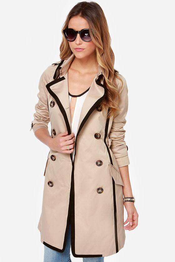 cool beige coat - black and beige coat - trench coat - $133.00 lgtpwej