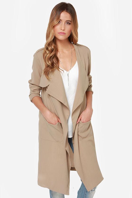 cool beige coat - trench coat - long coat - $49.00 bkejacx