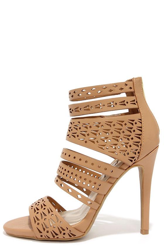 cute beige heels - caged heels - high heel sandals - $45.00 dtdpzji