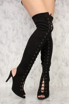 cute high heels black front lace up open toe thigh high boots faux suede sbxisrs