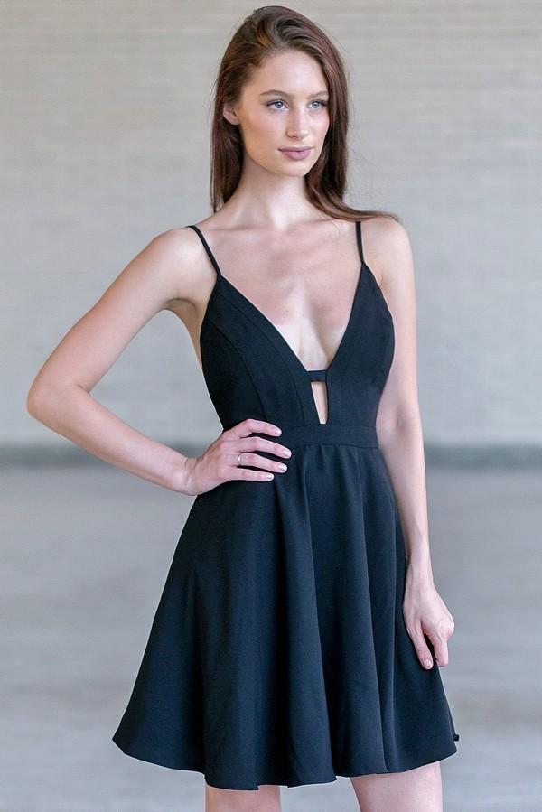 cute party dresses black plunging neckline dress, cute black a-line party dress fswkdpd
