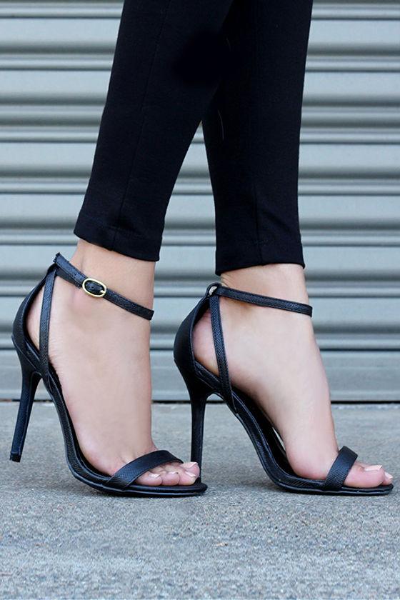 cute snakeskin heels - ankle strap heels - black heels - $26.00 jmtyuch