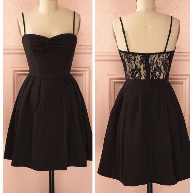 dance dresses spaghetti strap black simple lace cheap sexy homecoming prom dress,bd0067 txjblqm