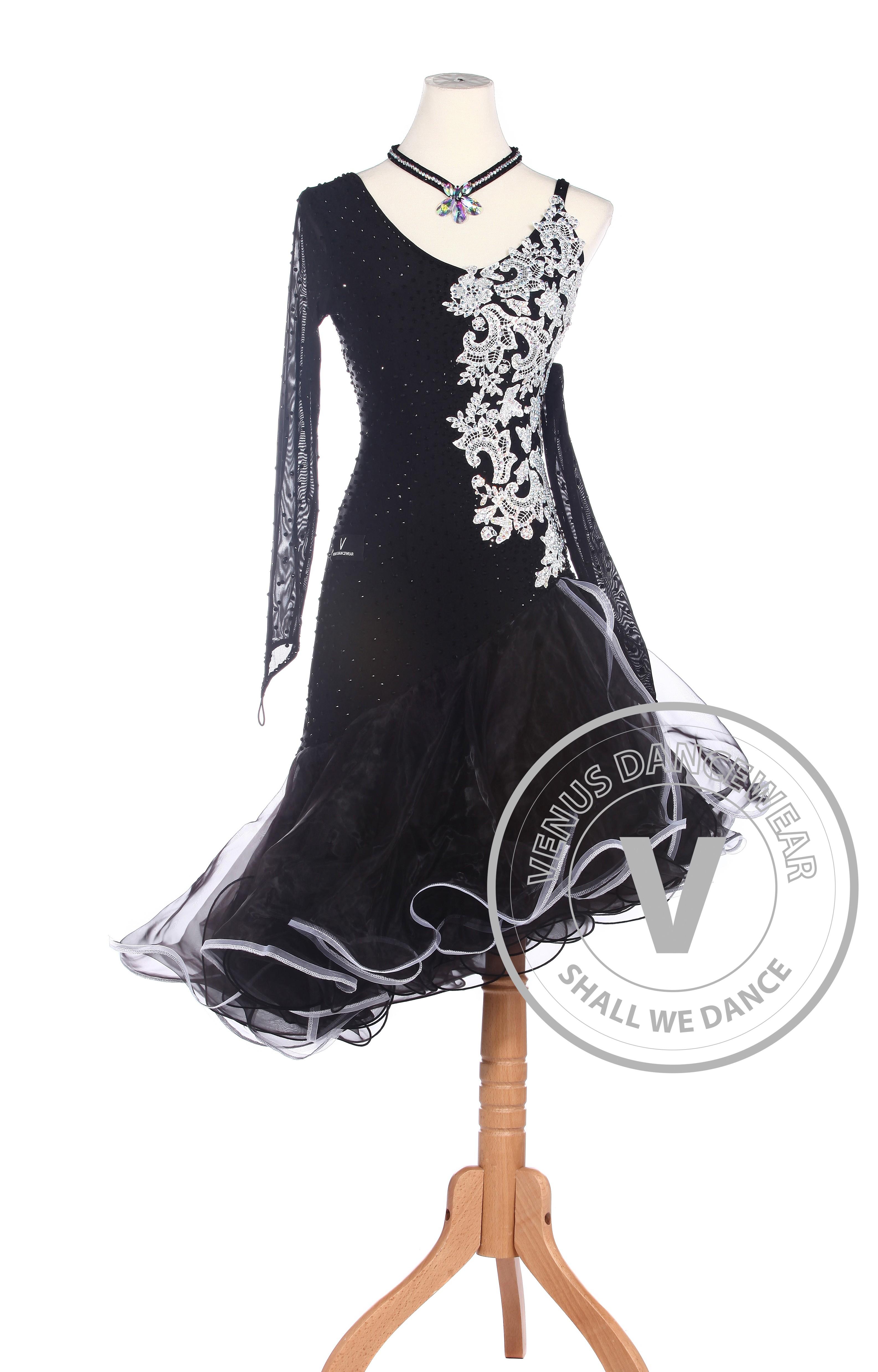 dance dresses white flower latin rhythm salsa rumba latin competition dance dress - venus istruzg