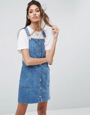 denim dress asos denim overall button through mini dress in midwash blue xzvdhvr