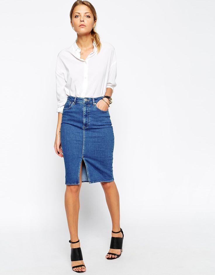 denim pencil skirt asos denim split front midi pencil skirt in midwash blue istvsyi
