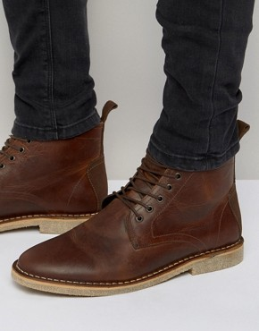 desert boot asos desert boots in tan leather with suede detail dbkqfst
