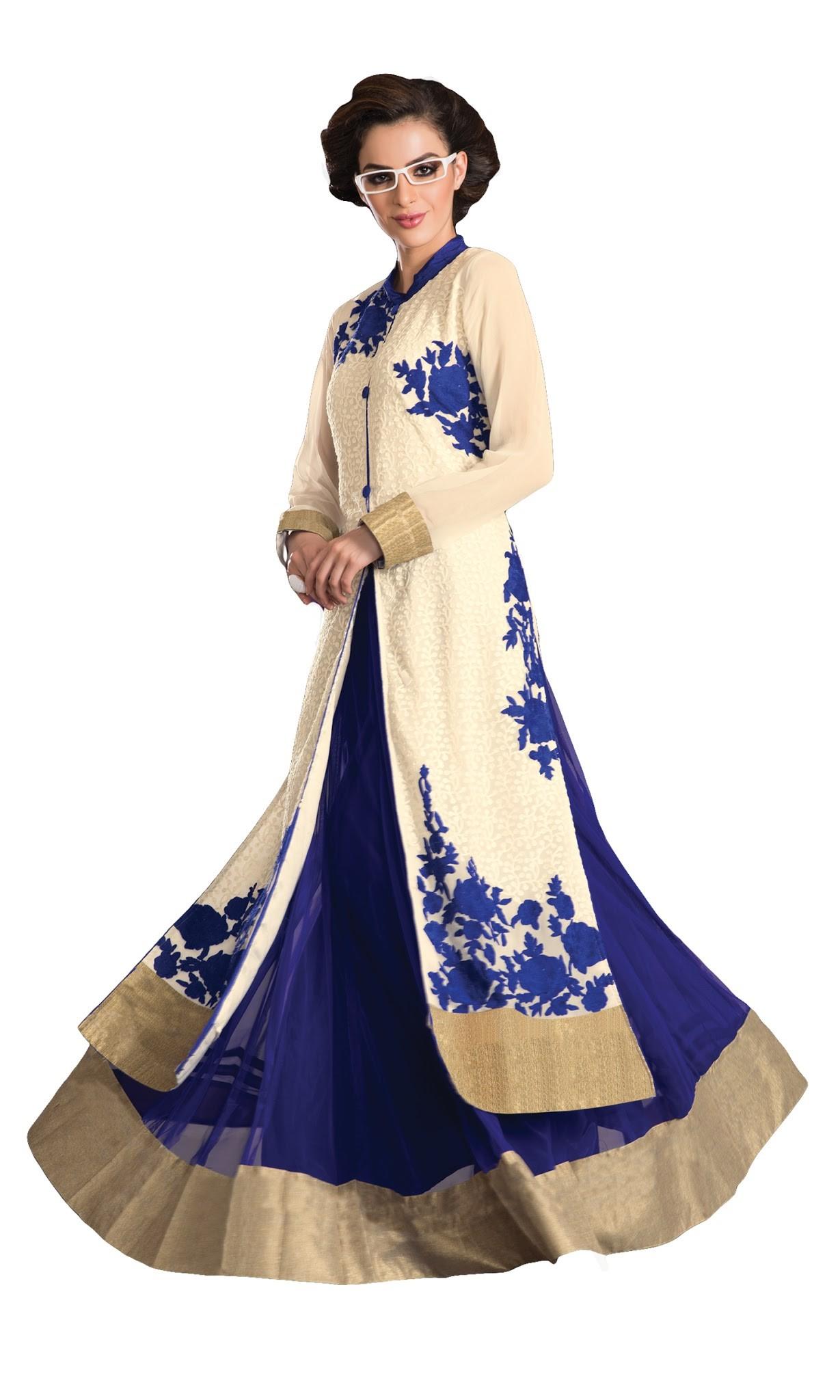designer dress royal blue-white color designer party wear dress-embroidery work designer  dress xxtuhyt