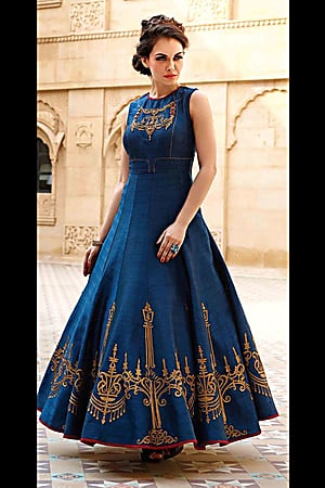 designer dresses new design navy blue banglori silk designer embroidery gown vbcerkr