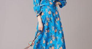 diane von furstenberg dresses ... long sleeve asymmetric hem dress in silese tile blue by dvf kjadxys