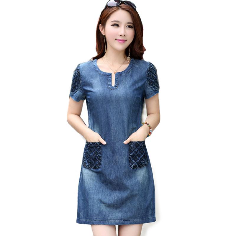 dress jeans 2016 new summer denim dress high quality women v-neck loose fashion jean tvjygse