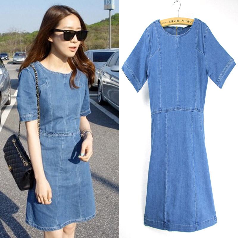 dress jeans dress 2017 vintage women denim dress fashion ladiesu0027 short sleeve o-neck jeans osixoiw