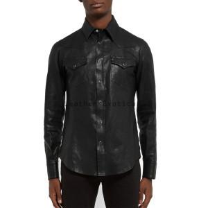 elegant long sleeves men leather shirt ywokxhe
