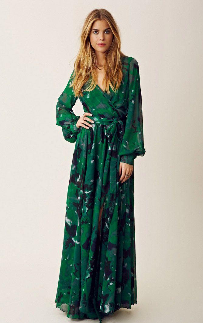 emerald green maxi wrap dress drshqbl