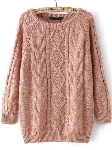 fall fashion cable knit loose pink sweater uhbkgzu
