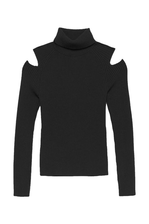 fall sweaters theory rib knit cutout turtleneck, $295; theory.com bccbbbc