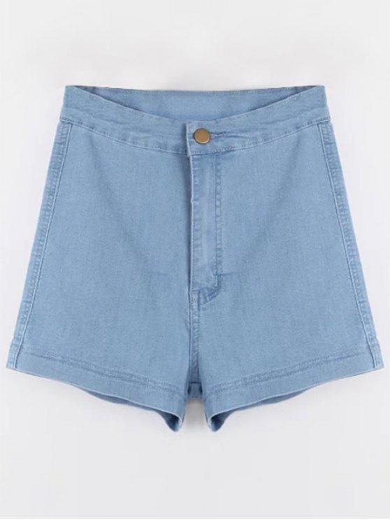 fashion high waisted denim shorts - light blue m xqrldeh