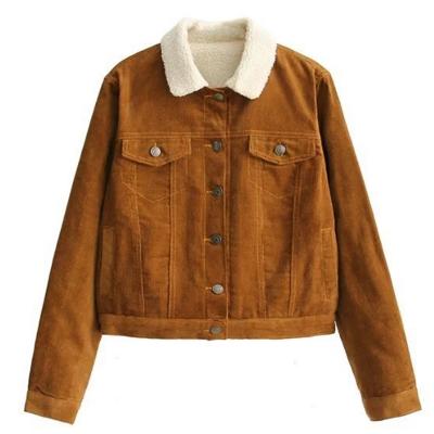 fashion turn down collar corduroy jacket - oasap.com irdnvsw