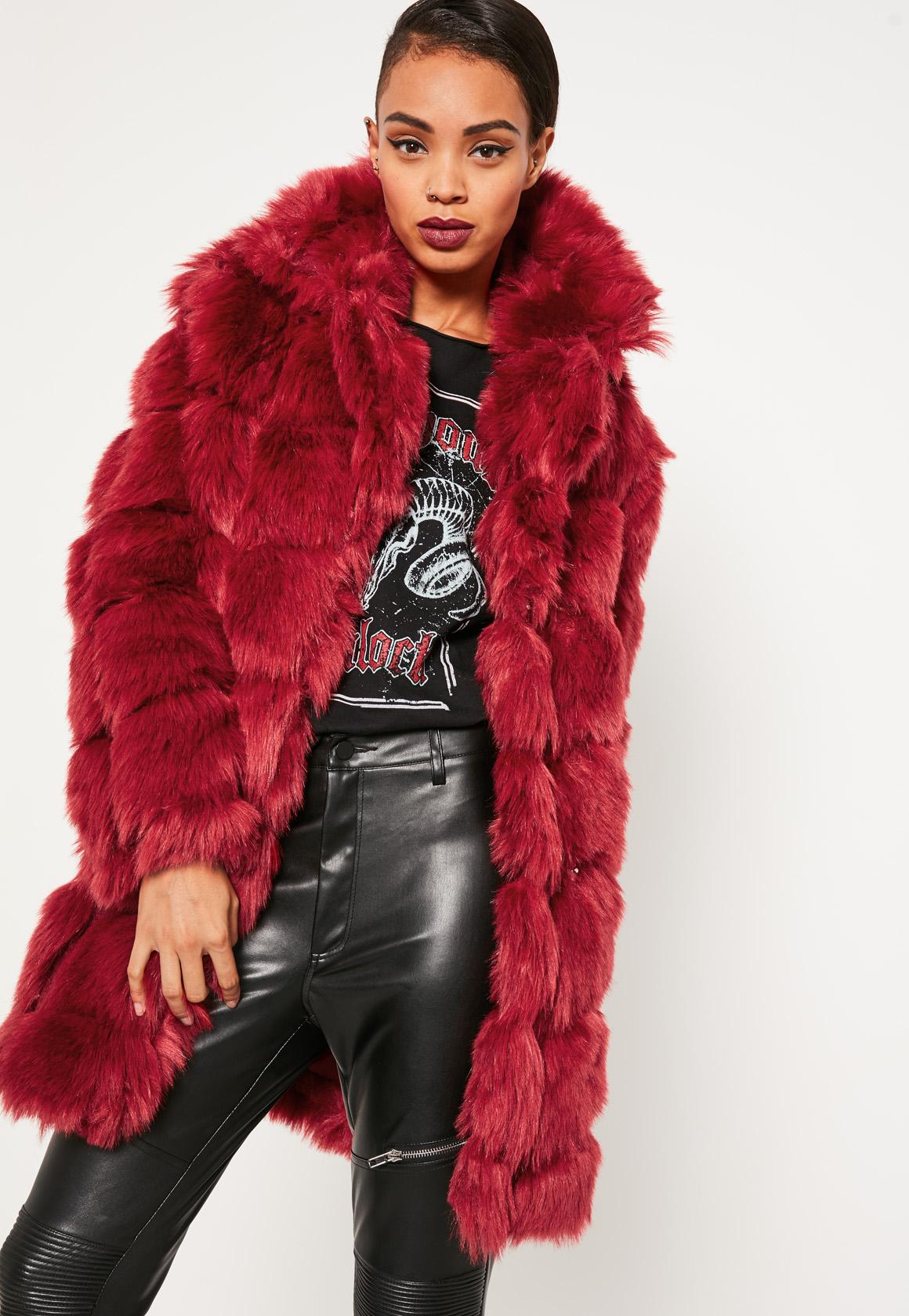 faux fur jacket red bubble faux fur coat kyhgwte