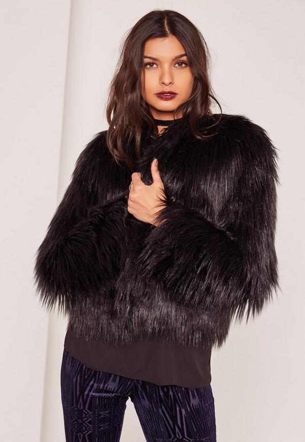 faux fur jacket shaggy faux fur coat black tcwclud