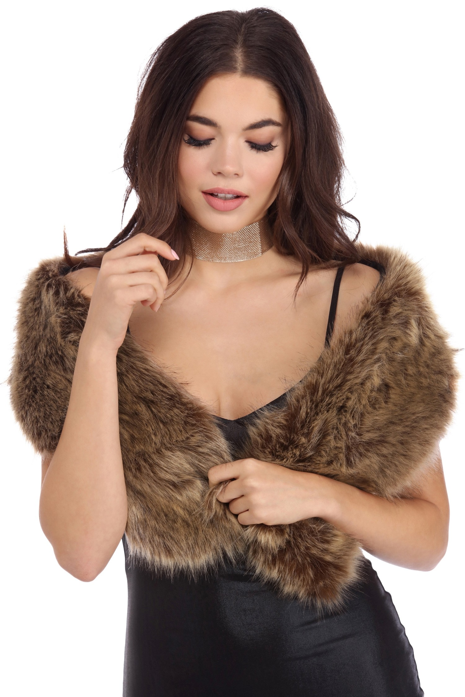 natural faux fur scarf vibmqgt