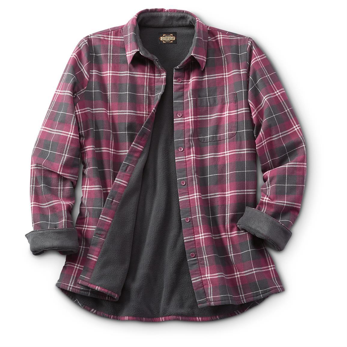 flannel shirts guide gear womenu0027s fleece-lined flannel shirt, wine ldqtwnl