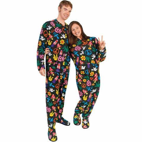 footed pajamas for women adult footed pajamas drop seat peace sign fleece lpwxreh