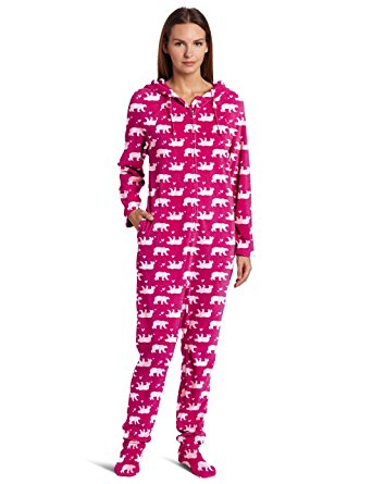 footed pajamas for women casual moments womenu0027s one-piece footed pajama, bears print, small hsibxkq