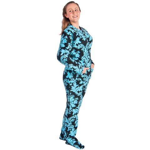 footed pajamas for women drop seat damask with butt flap fbbghsw