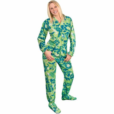 footed pajamas for women footed pajamas drop seat fleece nature silhouettes opmybnt