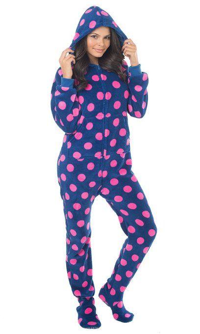 footed pajamas for women footed #pajamas navy pink polka dots vqmojcl