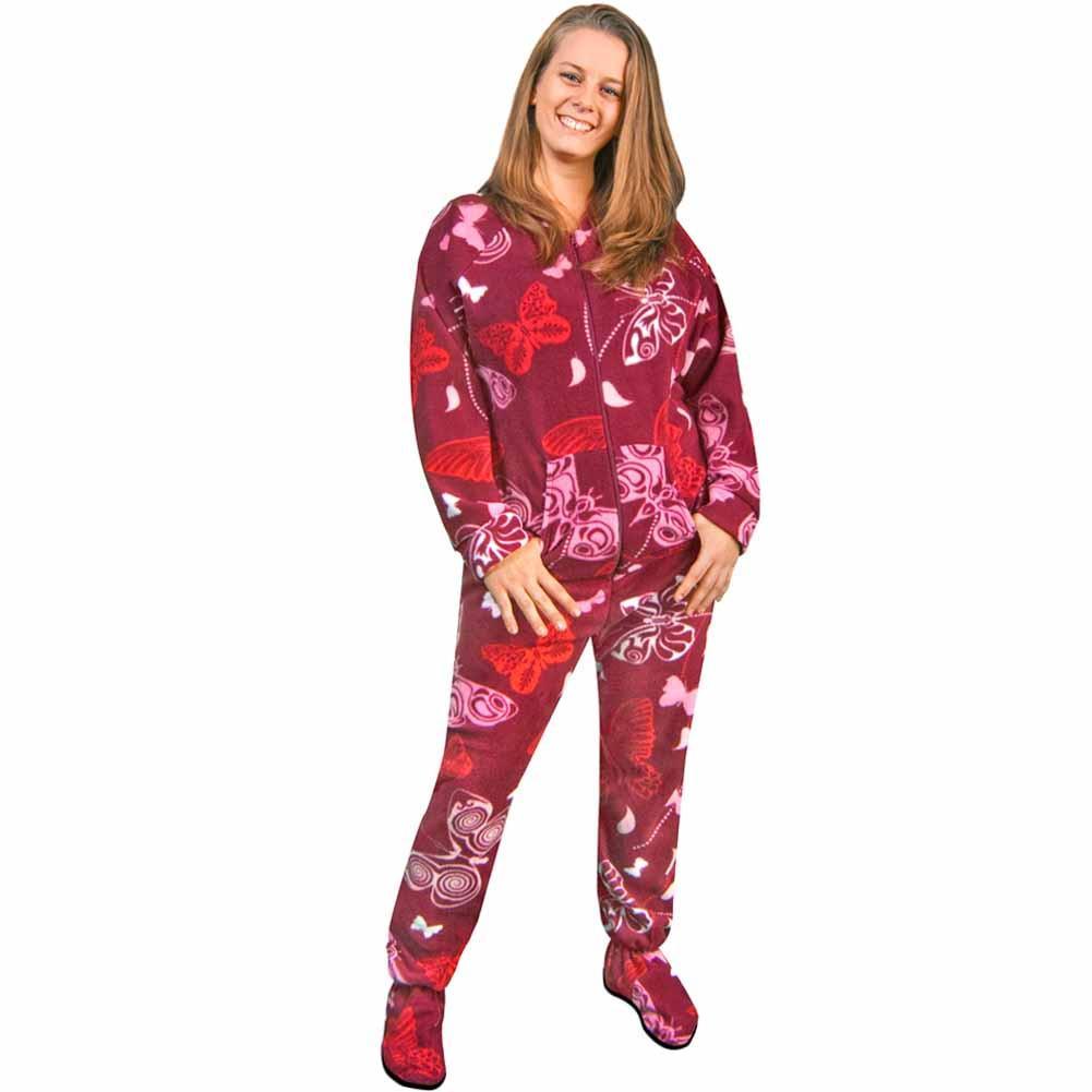 footed pajamas for women womens footie pajamas butterflies fleece drop seat - *limited sizes*, pajama  city dymqbsu