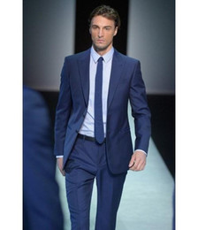formal suits formal evening wear tuxedos with two-button blue notch lapel satin edge  peak dobjioh