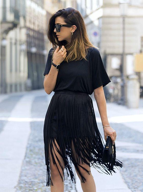 fringe skirt black mini skirt embellished with long fringes is worn with a black fqbznhd