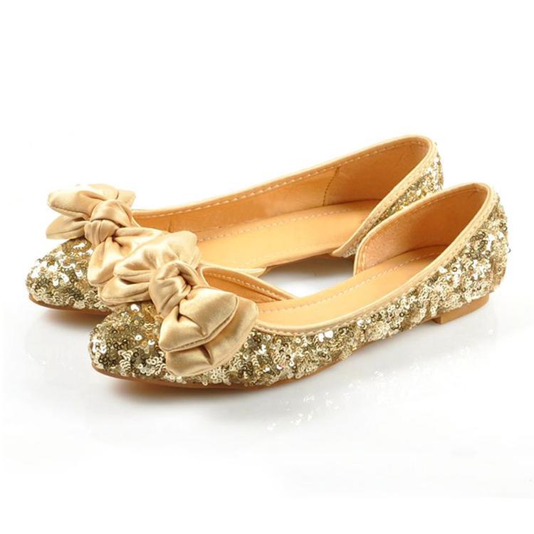 gold flats plus size ladies wedding shoes glitter gold woman flats cut out woman bdomdlv