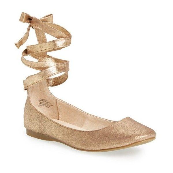 gold flats steve madden u0027bloomeu0027 wraparound tie flat ($80) ❤ liked on polyvore  featuring uwqslxe