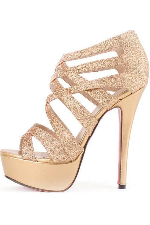 gold high heels $30.99 gold faux leather glitter strappy gladiator platform heels @  maykool.com lcdapyy
