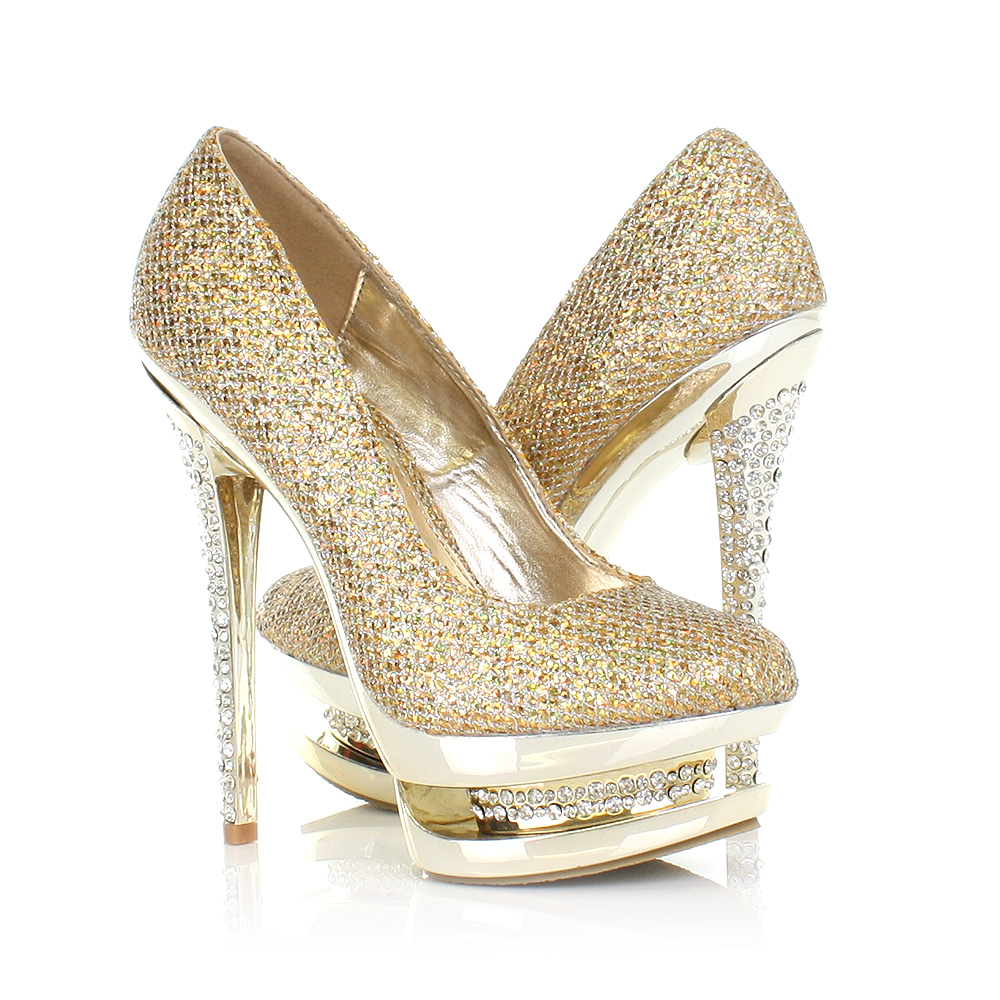gold high heels details about womens ladies gold diamante platform encrusted high heel  party shoes nuquoab