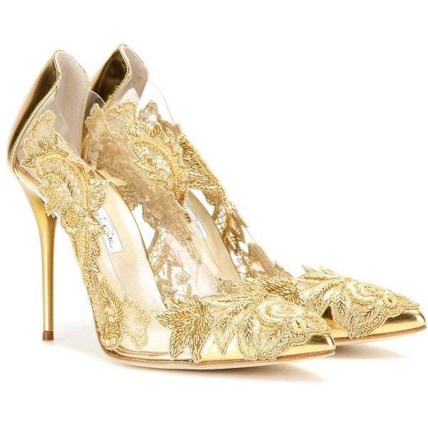 gold high heels oscar de la renta alyssa embellished transparent pumps ($1,180) ❤ liked on tpgwbwc