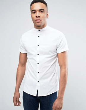 grandad shirt asos skinny shirt in white with grandad collar and contrast buttons ivttejc