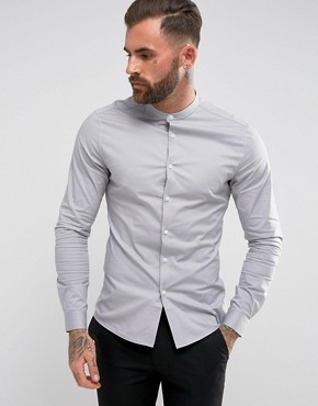 grandad shirt asos skinny shirt with grandad collar in charcoal ufhrohj