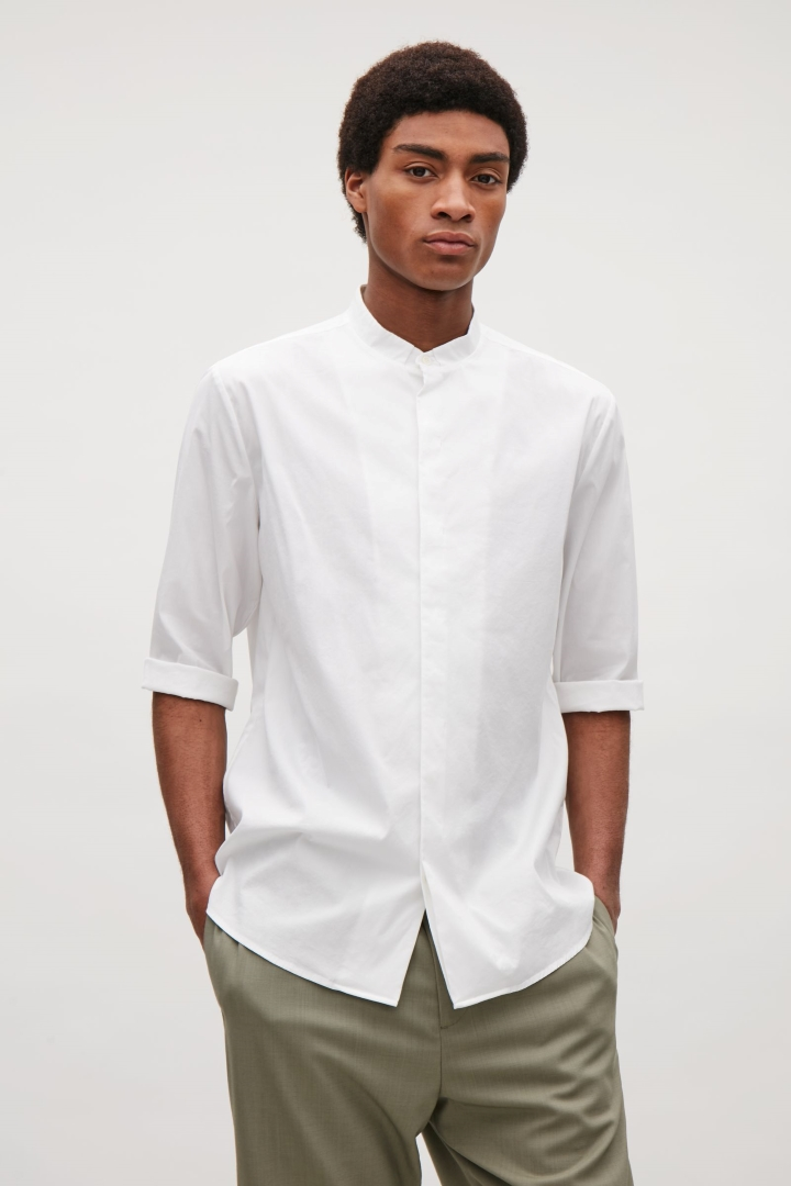 cos image 2 of 3/4 sleeve grandad shirt in white knsmuht