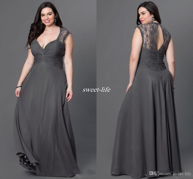 gray chiffon plus size bridesmaid dresses 2016 sexy open back v neck lace wnxlksm