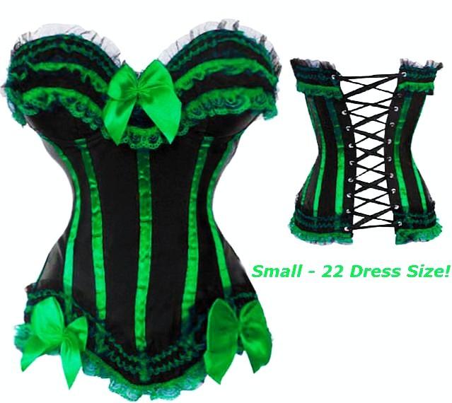 green corset - green black corset with green trim s-6x (more colors! pvbiteb
