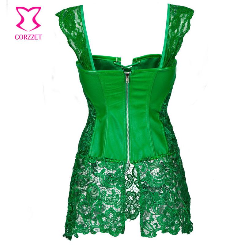 green corset punk green floral lace u0026 leather corset dress corselet plus size lingerie ibsxrxi