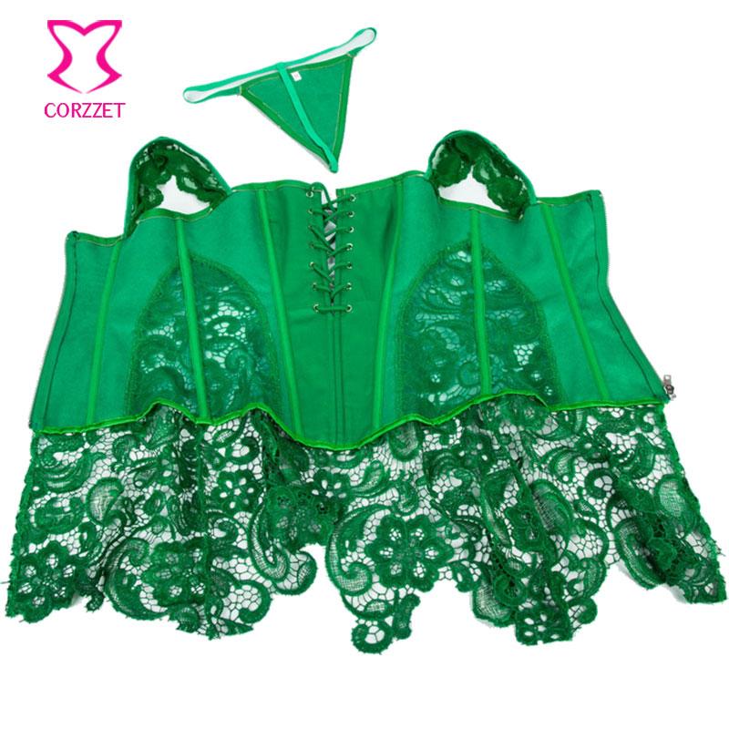 green corset punk green floral lace u0026 leather corset dress corselet plus size lingerie zyfghus