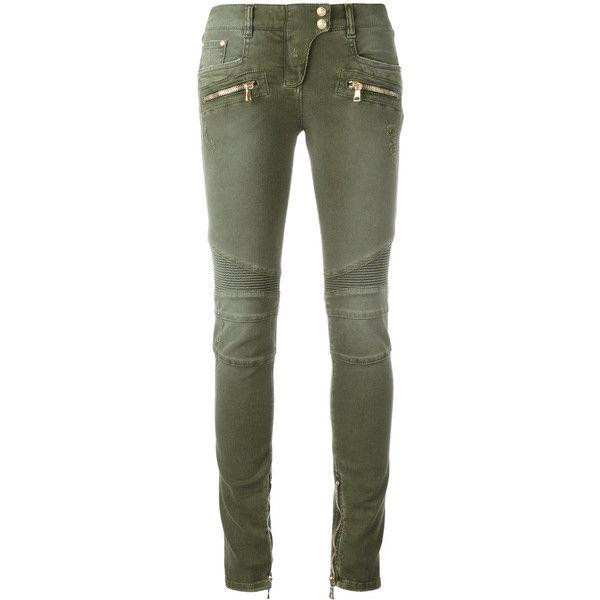green skinny jeans balmain skinny biker jeans ($1,325) ❤ liked on polyvore featuring jeans, green kcskorf