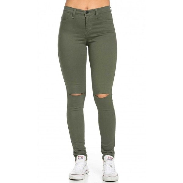 green skinny jeans high waisted knee slit skinny jeans in olive ($40) ❤ liked on polyvore fvshlhy