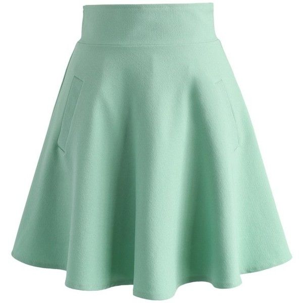 green skirt chicwish ought to be a green skater skirt (355 sek) ❤ liked on rhphkkp